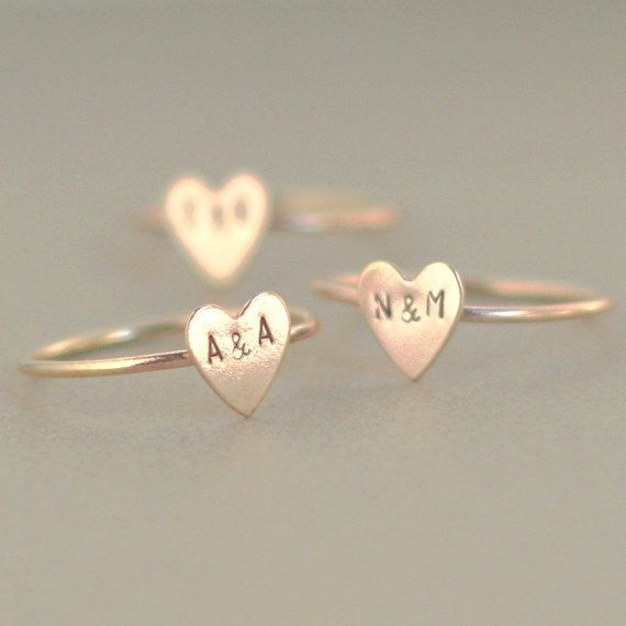initial ring. gold heart ring. 14k gold by MeadowbelleMarket