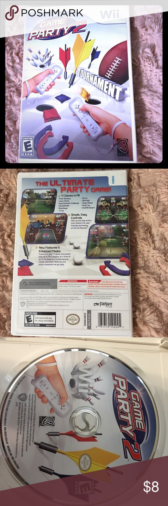 Game Party 2 Wii game: Game Party 2. Rarely used. Includes 11 party games: puck bowling, lawn darts, quarterback challenge, horseshoes, beanbags, trivia, darts, skill ball, hoop shoot, ping cup, & shuffle board. Nintendo Other