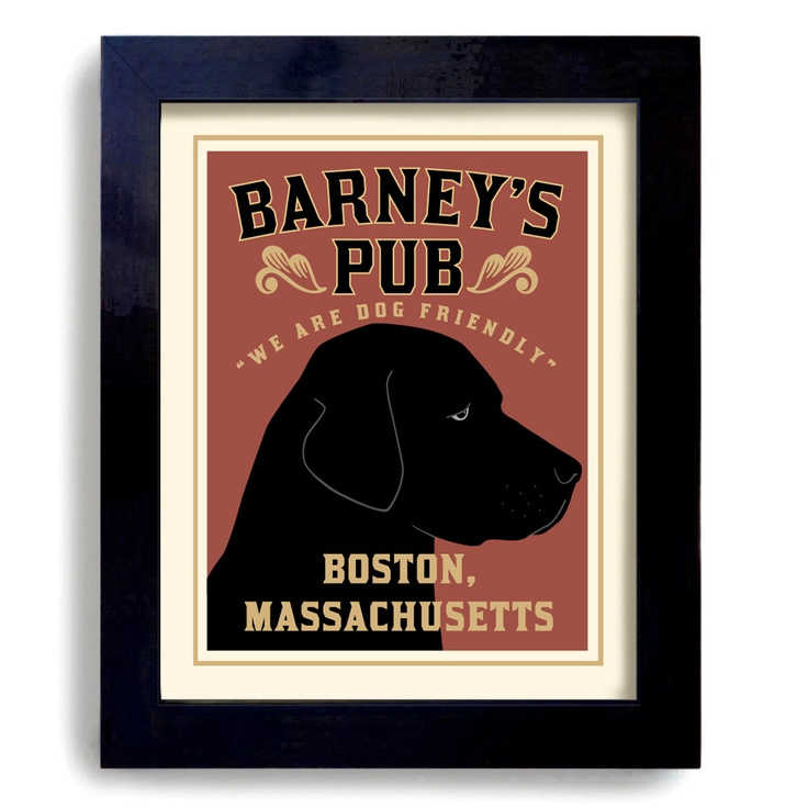 Custom Bar Labrador Art Retriever Black Dog Art Print Personalized. $39.00, via Etsy.