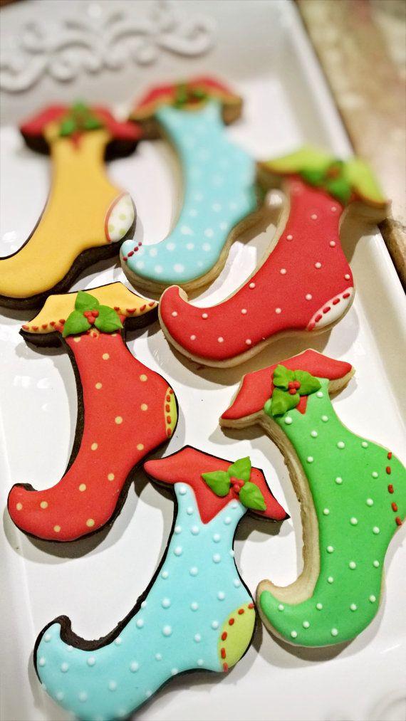 2 Dozen Christmas Stocking Cookies by MarinoldCakes on Etsy