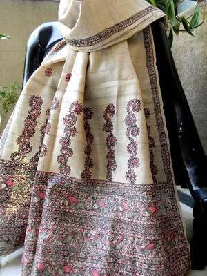 Beautiful Madhubani tussar silk stole. Madhubani is a ancient art form of  Bihar state in India