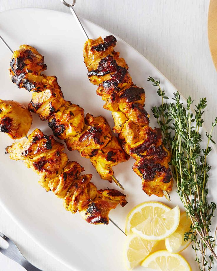 Saffron-Yogurt Chicken Kebabs ... Martha Stewart Cooking School ...***  Yogurt, lemon, thyme, garlic, saffron, tumeric,etc. ... I'd add some ginger too!