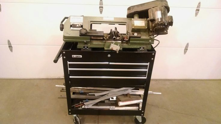 4 X 6 bandsaw, HF toolbox combo. Small stock storage and metal working items.