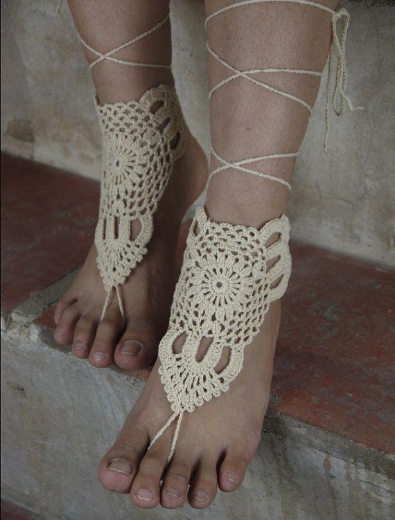 Слоновая кость босиком sandles пляж крючком сандалии крем для обуви sandle ноги украшения хиппи сандалии свадебные ну вечеринку настроить купить на AliExpress