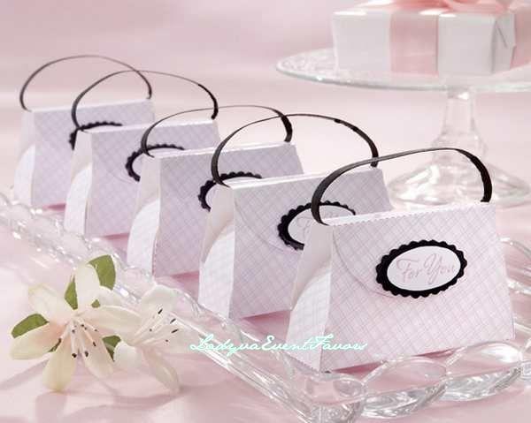 Pink plaid purse favor box