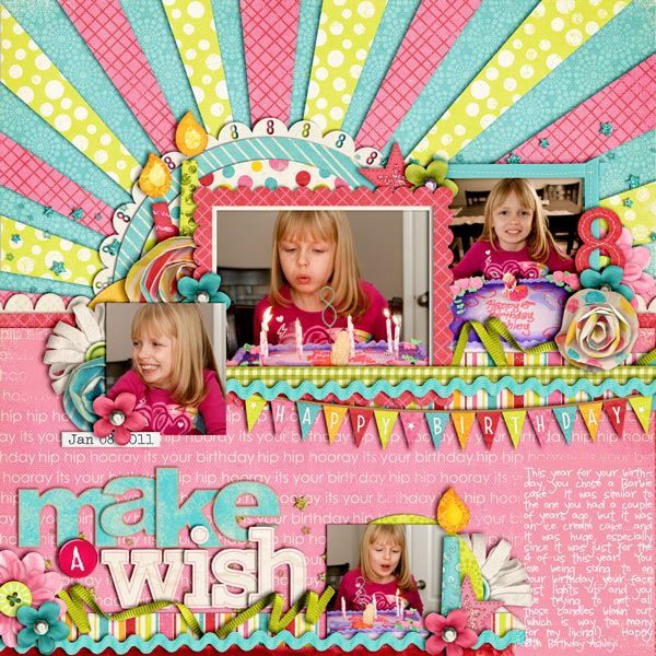 Make a wish...  I really like the colours in this. the design and layout is awesome!Scrapbook Ideas, Birthday, Colors Design, Design Impact, Colours Rainbows, Scrapbook Layout, Scrapbook Baby, Paper Strips, Scrapbook Pages