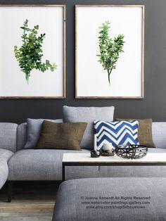 Thymian, 2er Set Aquarellmalerei, botanische Kunstwerke, grüne Blätter, florale Illustration, Kräuter-Kunstdruck