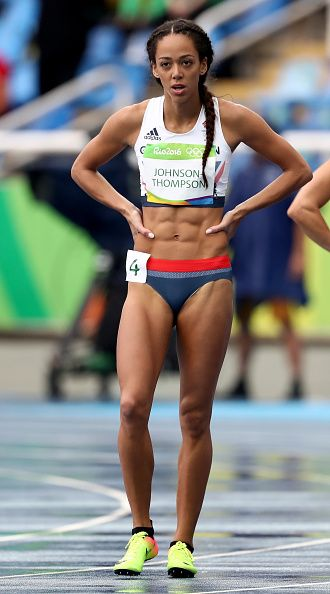 #RIO2016 Katarina Johnson-Thompson of Great Britain reacts after competing in Women's Heptathlon 100 Meter Hurdles on Day 7 of the Rio 2016 Olympic Games at...