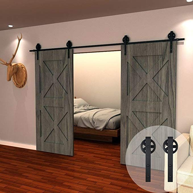 Winsoon 11ft Wood Double Sliding Barn Door Hardware Basic Black Big Spoke Wheel Roller Kit 5 18f Double Sliding Barn Doors Barn Door Sliding Barn Door Hardware