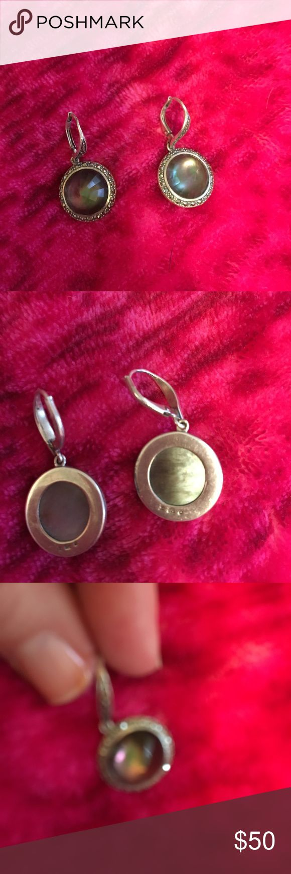 Judith Jack earrings Authentic sterling silver earrings with round mother of pearl pendant encircled in marcasite stones. EUC Judith Jack Jewelry Earrings
