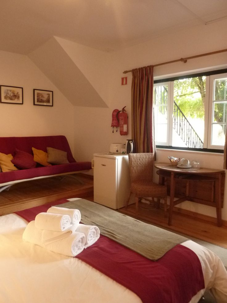 Casa do Valle's garden level standard room with an extra sofa bed. #bedandbreakfast #casadovalle #Sintra #Portugal #familyvacation