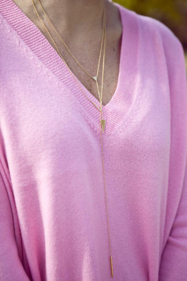 pink cashmere + gold lariat necklaces