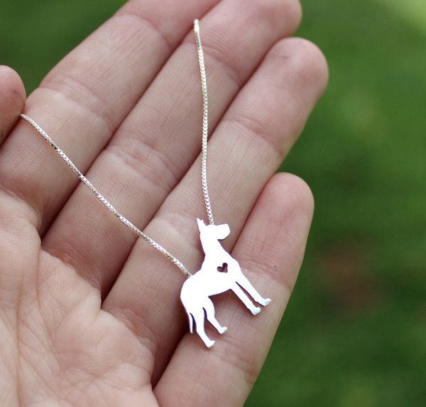 """Sterling Silver Great Dane (cropped) Pendant and Chain"""