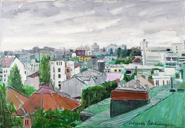 """The city from above"" by Alma Redlinger inspiration for Oil on Canvas I Silk on Skin by Andreea Buga - Forbes.ro"