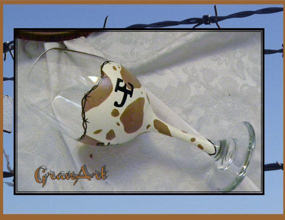 Cow Wine Glass Cowhide Western Saloon Cowgirl Cowboy by GranArt
