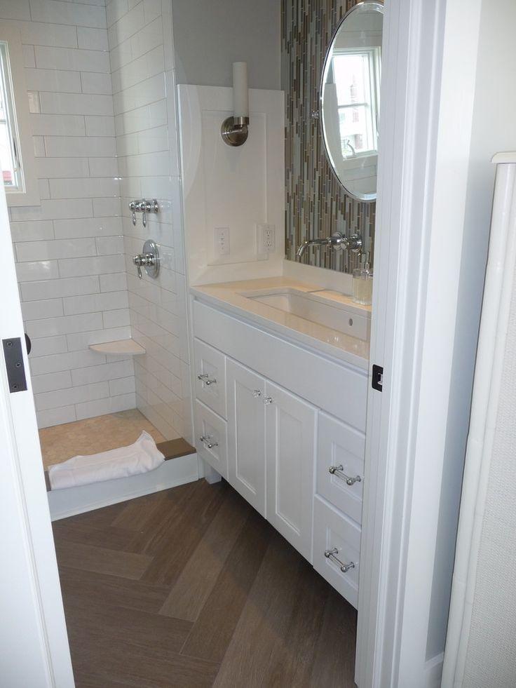 stylist bathroom surround ideas. Kelley Gardener Home Stylist  Contemporary bathroom design with small open shower filled subway tile surround and travertine hex 8 best Guest Bath images on Pinterest Bathroom Bathrooms