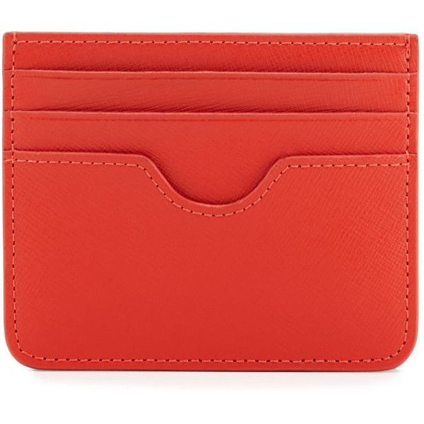 Neiman Marcus Flat Leather Card Case ($14) ❤ liked on Polyvore featuring bags, wallets, orange, leather card holder wallet, genuine leather wallet, red bag, leather wallets and credit card holder wallet