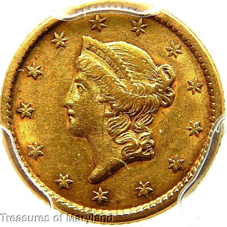 "PCGS AU55 Certified! 1853 'LIBERTY HEAD"" US Gold $1"
