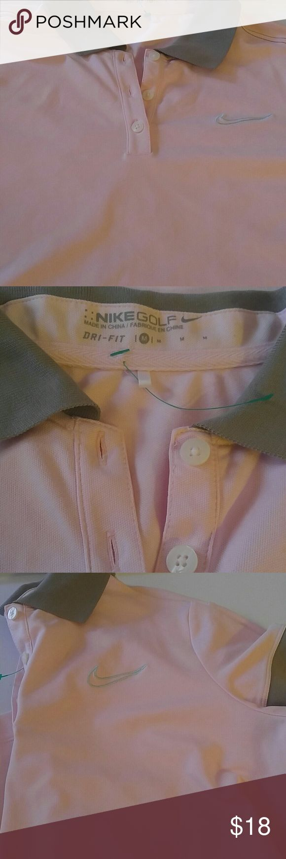 """Nike Women's Golf Top Size M Pink Gray 19"""" pit to pit 23.5"""" long pink and Gray nice shirt for golf or any day wear. Nike Tops Tees - Short Sleeve"""