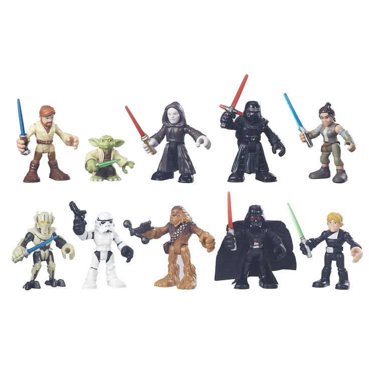 Star Wars Galactic Heroes Galactic Rivals Action Figure. Includes 10 Galactic Heroes figures. Sized right for small hands. Imagine epic match-ups and adventures. Figure scale: 2.5 inches. Includes Luke Skywalker, Darth Vader, Rey (Resistance Outfit), Kylo Ren, Yoda, Emperor Palpatine, Chewbacca, Stormtrooper, Obi-Wan Kenobi, and General Grievous figures.