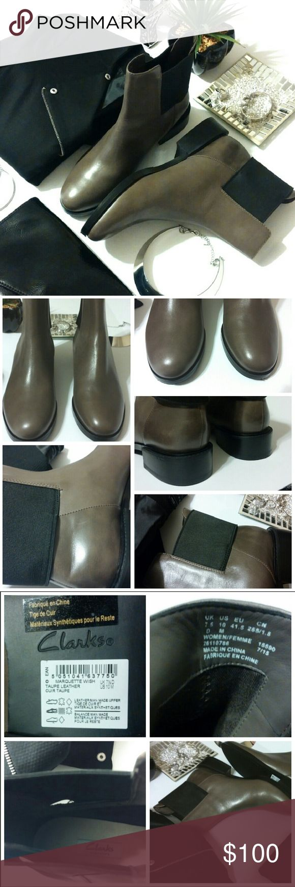 💎NWOB °Clarks° Taupe Leather Slip-on Boots *These brand new Clarks boots are HOT!!!  They are taupe, with a genuine leather/ man-made upper (the elastic band).  The elastic band is to ensure easy slip-on.  They are so comfortable, and very well-made.  There are minor scratches due to in store try ons (nothing major or noticeable).  These boots are the perfect neutral to add to your collection.   They will make any outfit fabulous!* Clarks Shoes Ankle Boots & Booties