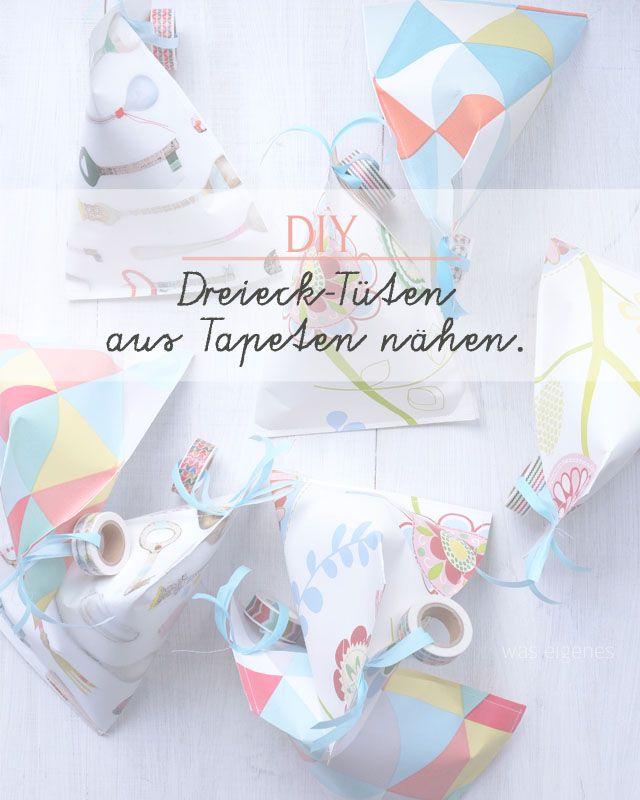 DIY: Dreieckige Papiertüten falten & nähen. #Kindergeburtstag #favorbags #DIY / was eigenes Blog