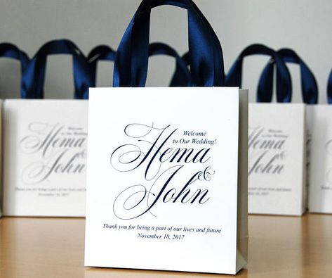 30 Welcome To Our Family And Friends Wedding Bags For Guests With Satin Ribbon Custom Names Elegant Personalized Gifts Favors