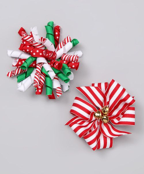 Take a look at this Picture Perfect Hair Bows Red Christmas Bow & Stripe Bow Clip Set on zulily today!