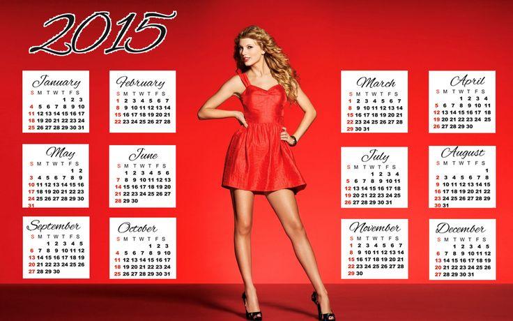 taylor swift red dress wallpaper calendar 2015 by MyTripolog.Com