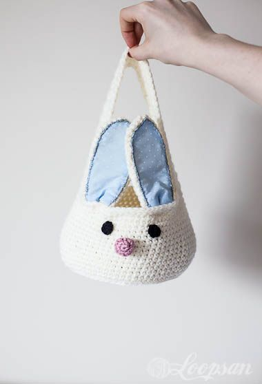 Crochet Bunny Storage Basket, free pattern by loopsan