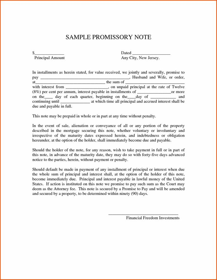 Free Promissory Note Templates Promisory Note Example U Printable