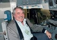 James Doohan in space shuttle simulator