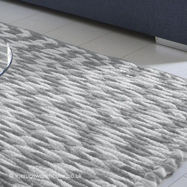New Zealand Wool Sydney Cream Light Grey Luxury Waves Rug