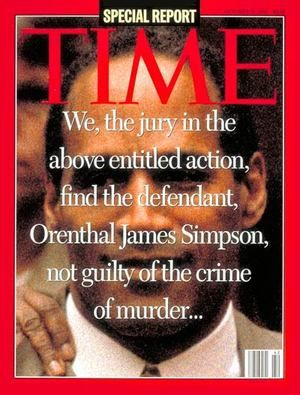 """Time led its October 16, 1995 """"O.J. Simpson Verdict: Special Report"""" with an extended essay from Roger Rosenblatt that was titled, perhaps way too optimistically, """"A Nation of Pained Hearts: Americans, black and white, may be able to use the O.J. verdict as a chance to embark on a pilgrimage toward and candor and charity."""""""