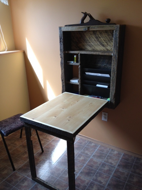Murphy Desk Open Reclaimed Wood Pieces Tiny House
