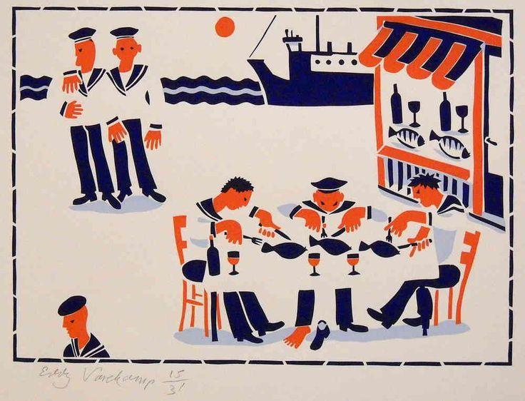 Stencilprint, sailors