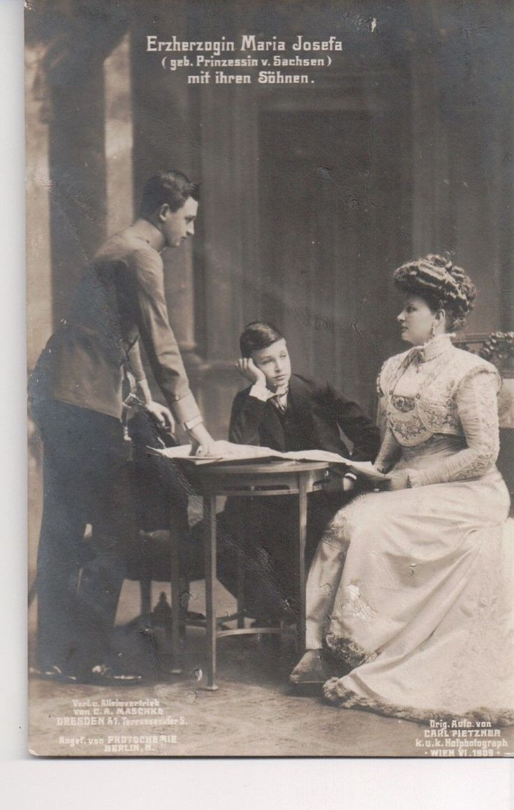 Archduchess Maria Josefa of Saxony with Emperor Charles and Archduke Max