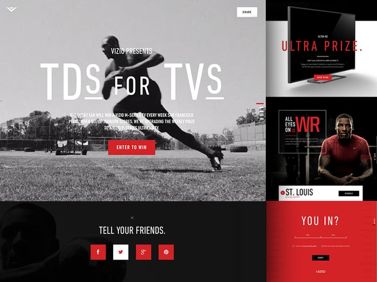 A landing page I did with the @ENVOY team for Vizio and Stevie Johnson's TDs for TVs NFL campaign.  See the real deal here: http://tdsfortvs.vizio.com  Thanks for the amazing help on this, @Zack Tr...