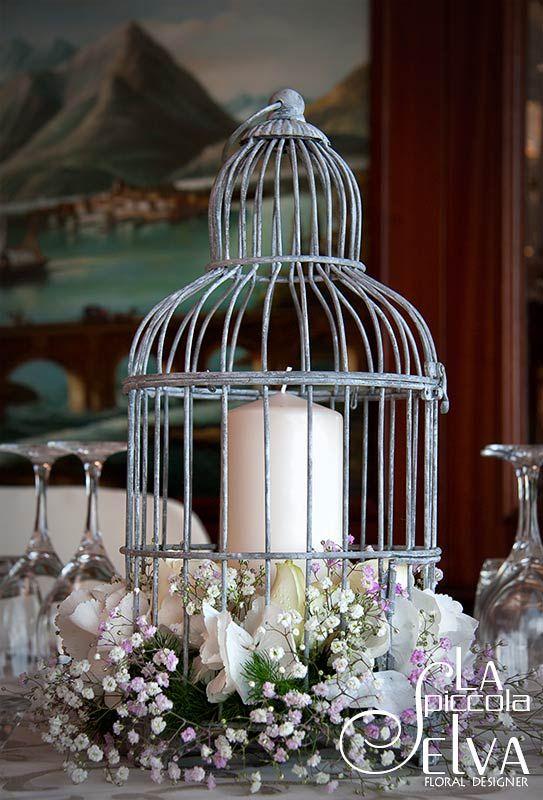 Centrotavola matrimonio con gabbie vintage per uccelli