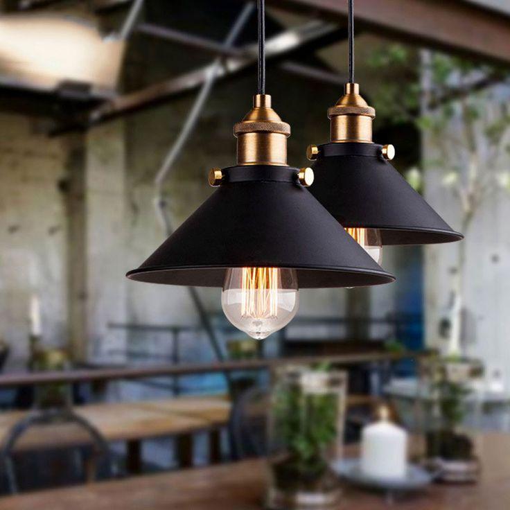 Black vintage industrial pendant light with retro iron