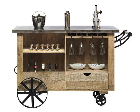 Industrial Bar Cart Industrial Bar Cart Moveable