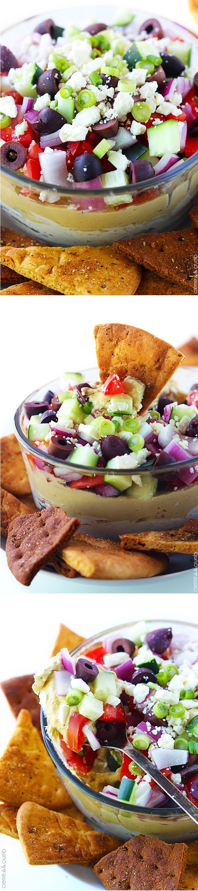 7 Layer Greek Hummus Dip... similar to one of my favorite 7 layer greek recipes. Like it a little less chunky.