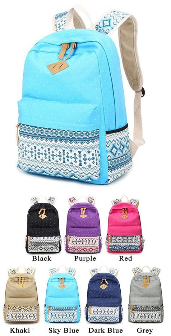 Which color do you like? Folk Leisure Polka Dot Rucksack Bohemia Trunk College Canvas Backpack #backpack #trunk #bohemia #leisure  #backpack #bag #school #rucksack #leather #cute #canvas #trunk
