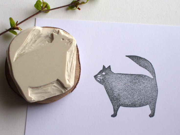 Stempel Moppelkatze handgeschnitzt // Stamp cat handmade by DasRotkehlchen via DaWanda.com
