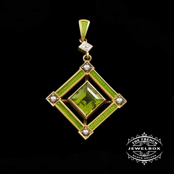 Edwardian Peridot Pendant A smart and delightfully green coloured enamel 14ct yellow gold pendant cornered with pearls featuring a square cut Peridot with diamond.  https://thefrenchjewelbox.com.au/necklaces-pendants/edwardian-peridot-pendant.html