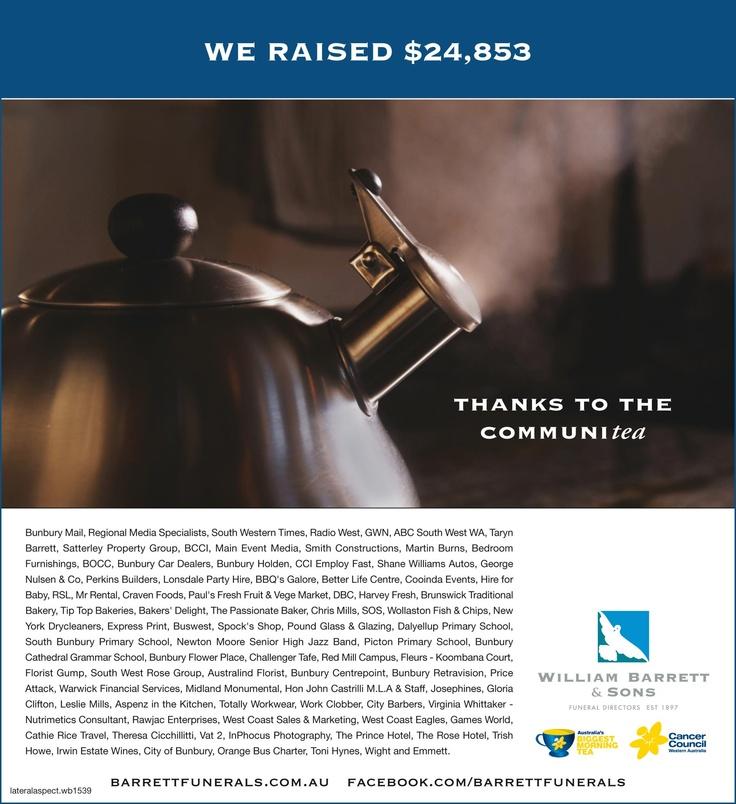 """Lateral Aspect congratulates William Barrett & Son's fund raising efforts for """"Australia's Biggest Morning Tea"""". www.lateralaspect.com.au"""