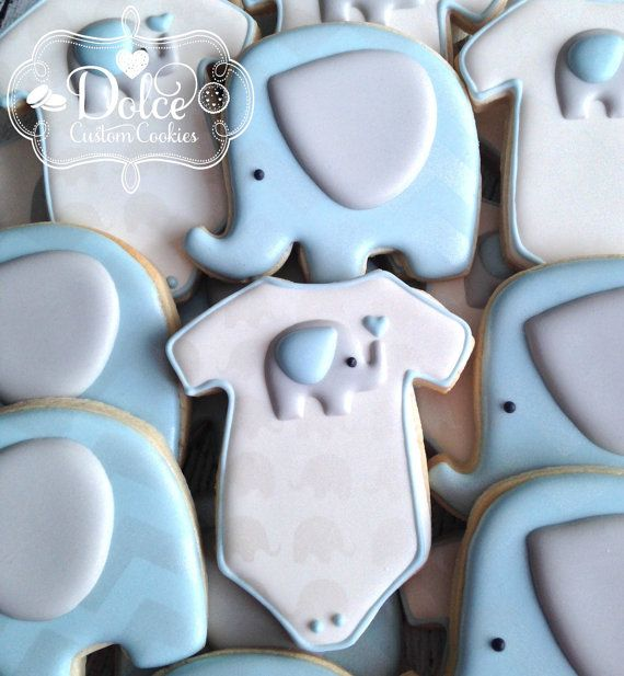 Elephant Chevron Baby Shower Cookies