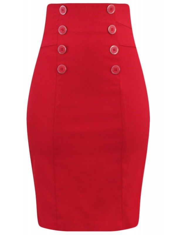 Double Trouble Women's High Waisted Pin Me Up Pencil Skirt - Red