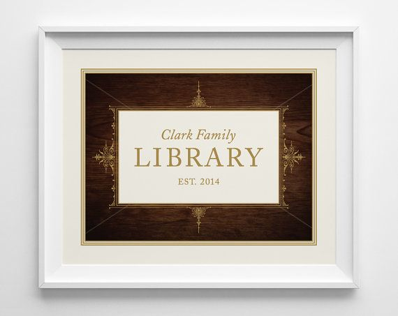 Personalized Library Sign, Personalized Wedding Gift for Book Lovers, Kids Playroom Art, Bookworm Engagement Gift, Dark Wood and Gold