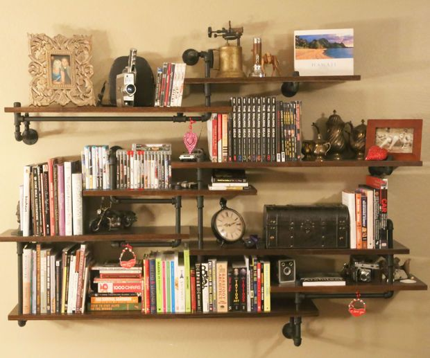 Industrial Pipe Shelving Built-In